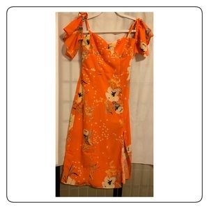 New Urban Outfittiers Orange floral long dress S